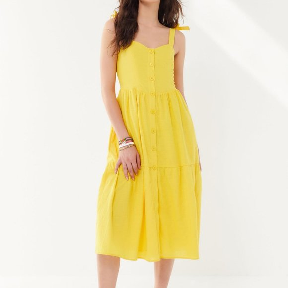 NWT Urban Outfitters Yellow Positano Dress (Large)